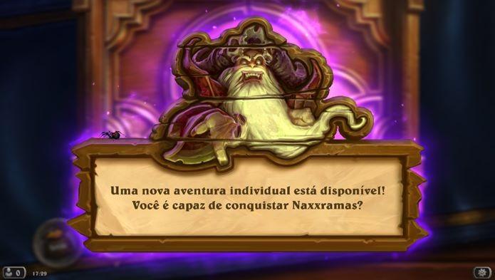 Depois de atualizar, mensagem anuncia novo modo singleplayer de Hearthstone (Foto: Reprodução / Dario Coutinho)