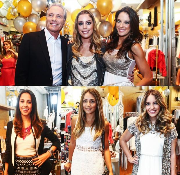 Fabiana Justus, dona da Pop Up Store, entre seu pai Roberto Justus e a madrasta Ticiane Pinheiro. Em baixo, as blogueiras Helô Gomes, Lalá Noleto e Lelê Saddi (Foto: Divulgação)