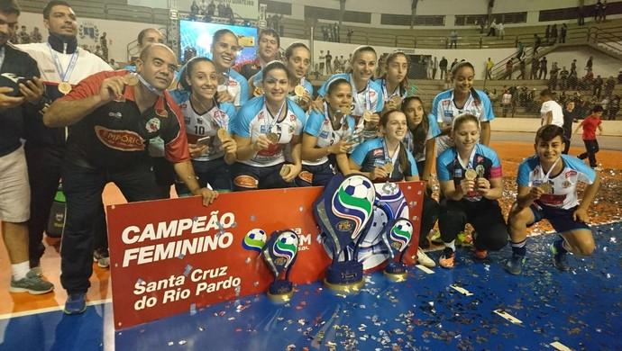Santa Cruz, campeã da Copa TV TEM Futsal Bauru 2017 (Foto: Sérgio Pais)