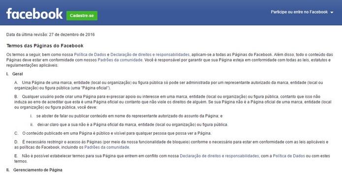 O Facebook possui uma página com os termos da rede social (Foto: Reprodução/Camila Peres)