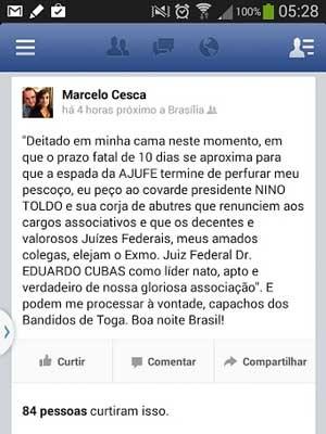 Post feito pelo juiz federal de Brasília Marcelo Cesca em rede social (Foto: Facebook/Reprodução)