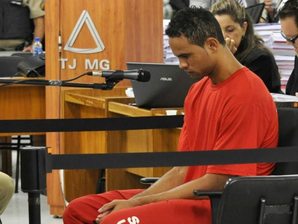 Bruno durante o julgamento da morte Eliza Samúdio (Foto: Renata Caldeira /TJMG)
