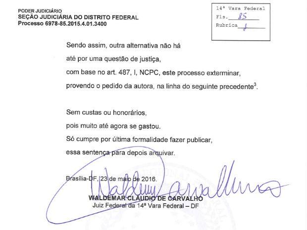 Trecho de sentença escrita em versos por juiz federal do Distrito Federal (Foto: Reprodução)