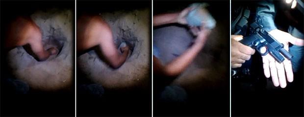 Pistola roubada dos policiais foi encontrada enterrada na Vila de Ponta Negra, conjunto próximo ao local onde aconteceu o assalto      (Foto: Divulgação/Polícia Militar)