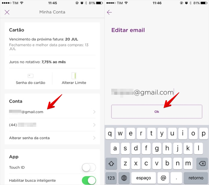 Editando o endereço de email (Foto: Reprodução/Helito Bijora)