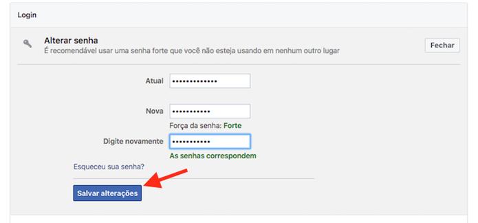Tela para alteração de senha do Facebook (Foto: Reprodução/Marvin Costa)