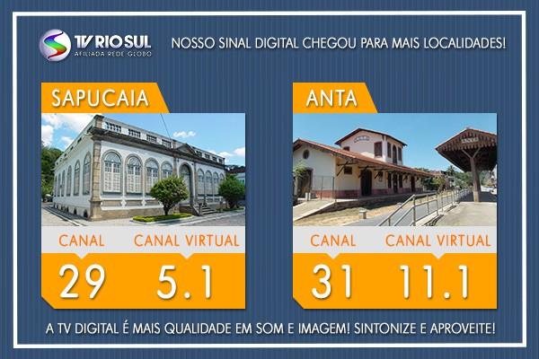 Sapucaia e o distrito de Anta começam a receber o sinal digital da TV Rio Sul (Foto: TV Rio Sul)