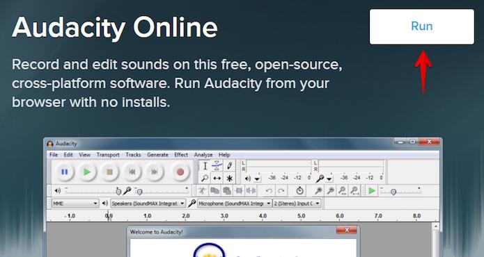 Abra a página do Audacity online e clique sobre o botão indicado (Foto: Reprodução/Helito Bijora)