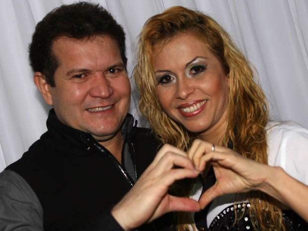 Chimbinha e Joelma, durante preparação para o show (Foto: Maurício Vieira/G1)
