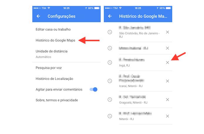 Iniciando a ação para deletar um histórico de pesquisa no Google Maps para iPhone (Foto: Reprodução/Marvin Costa)