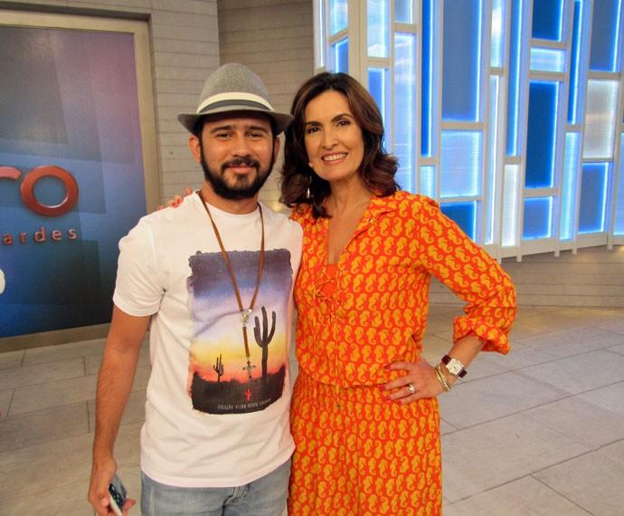 Fátima com o parceiro Bráulio Bessa  (Foto: Viviane Figueiredo Neto/Gshow)