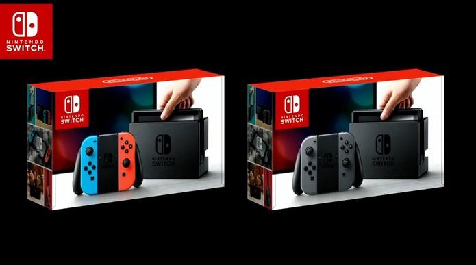 Switch terá opção de pacote de controles coloridos ou na cor padrão (Foto: Divulgação/Nintendo) (Foto: Switch terá opção de pacote de controles coloridos ou na cor padrão (Foto: Divulgação/Nintendo))