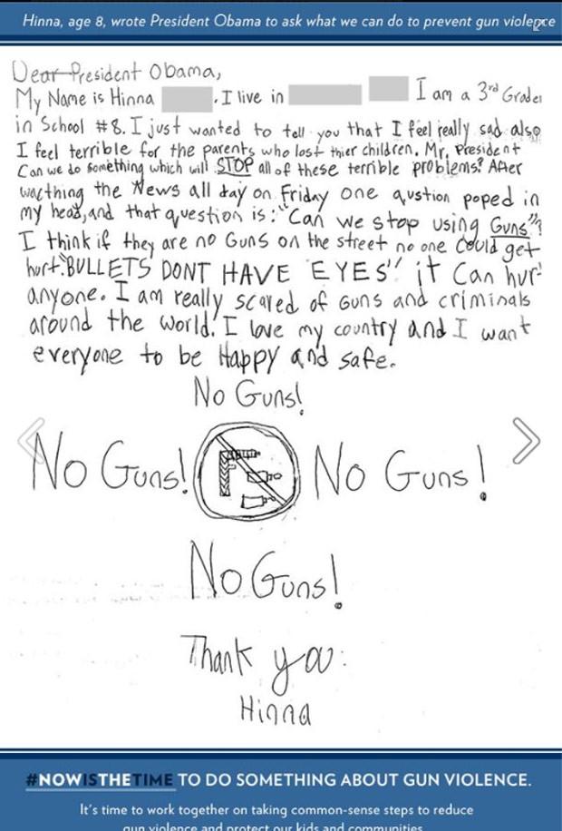 Fac-símile da carta da garota Hinna, de 8 anos, divulgada nesta quarta-feira (16) pela Casa Branca (Foto: Reprodução/Facebook)