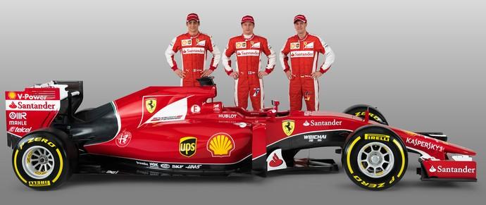 Esteban Gutiérrez, Kimi Raikkonen e Sebastian Vettel: trio responsável por explorar potencial da nova Ferrari (Foto: Divulgação)