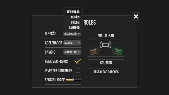 Os controles de Traffic Rider também são customizáveis (Foto: Reprodução/Tais Carvalho)