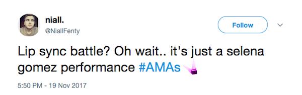 Uma das críticas feitas contra a cantora Selena Gomez por sua apresentação no 2017 American Music Awards  (Foto: Twitter)