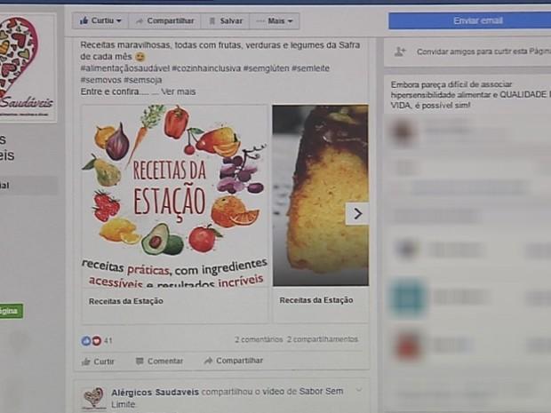 Página conta com receitas alternativas (Foto: Reprodução/TV TEM)