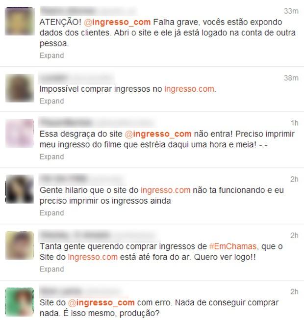 Usuários escreveram em microblog que não conseguiam imprimir ingressos e que dados cadastrais de terceiros estavam expostos (Foto: Reprodução/Twitter)