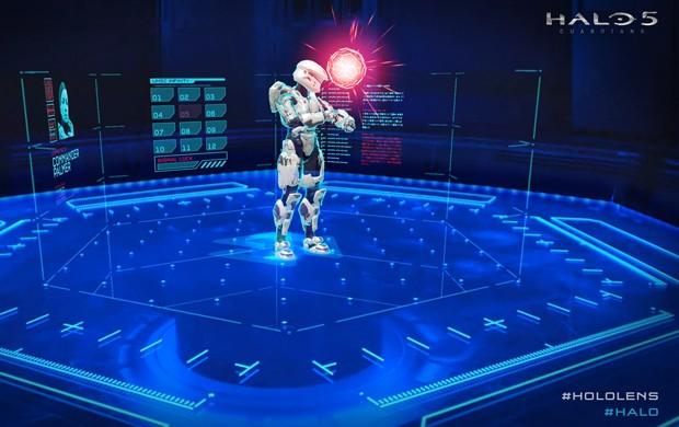 'Halo 5' também ganhou experiência integrada com as HoloLens. Usuário das lentes assistia instruções holográficas para partida que iria começar (Foto: Divulgação/Microsoft)