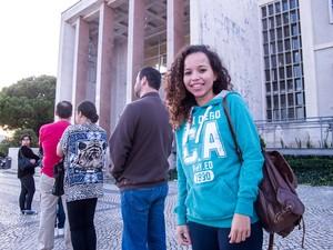 Velussa, 23 anos, vota pela primeira vez em Portugal (Foto: Guilherme Tossetto/G1)
