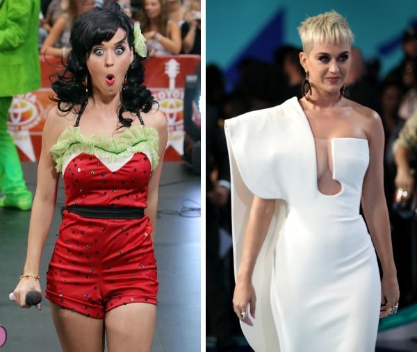 A cantora Katy Perry no início da carreira e em foto recente (Foto: Getty Images)