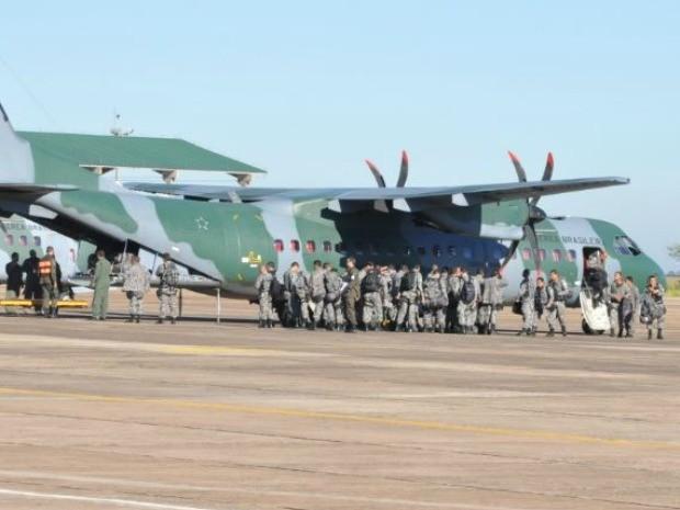 Força Nacional chega em Campo Grande para desocupação de fazenda em Sidrolândia (Foto: Maressa Mendonça/G1 MS)