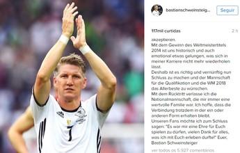 """Schweinsteiger anuncia aposentadoria da seleção alemã: """"Obrigado por tudo"""""""