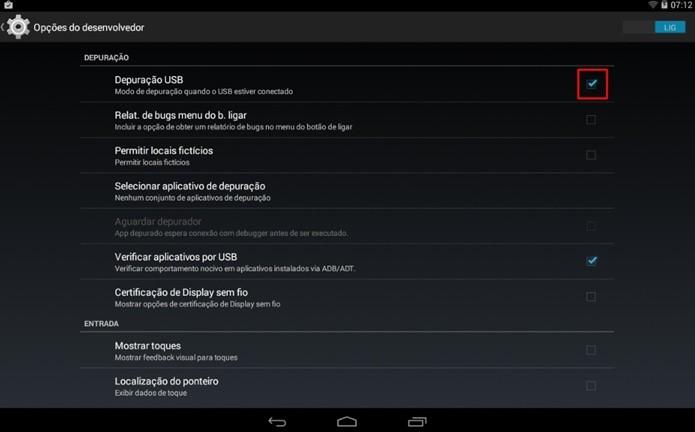Ative a depuração USB do Android (Foto: Reprodução/Paulo Alves)