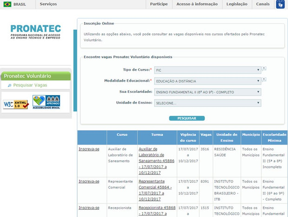 MEC abre inscrição para vagas gratuitas em cursos a distância (Foto: Reprodução)