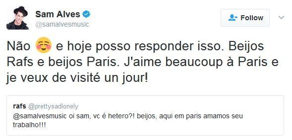 Sam Alves abre o jogo e diz que é gay (Foto: Twitter / Reprodução)