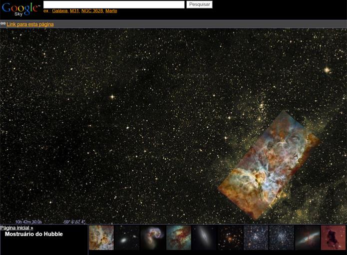 Google Sky conta com fotos tiradas pelo Hubble  (Foto: Reprodução/Filipe Garrett)