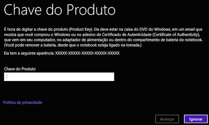 Digite o serial do Windows para ativá-lo
