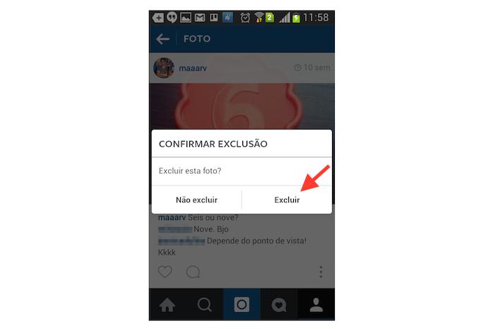 Confirmando a exclusão de uma foto do Instagram através de um dispositivo Android (Foto: Reprodução/Marvin Costa)