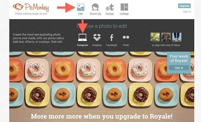 Definindo uma categoria de upload de arquivo no PicMonkey (Foto: Reprodução/Marvin Costa)
