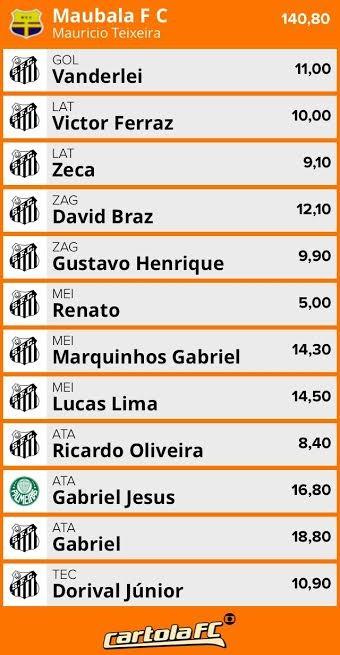 Torcedor de Campinas escala Santos inteiro no Cartola FC (Foto: Reprodução)
