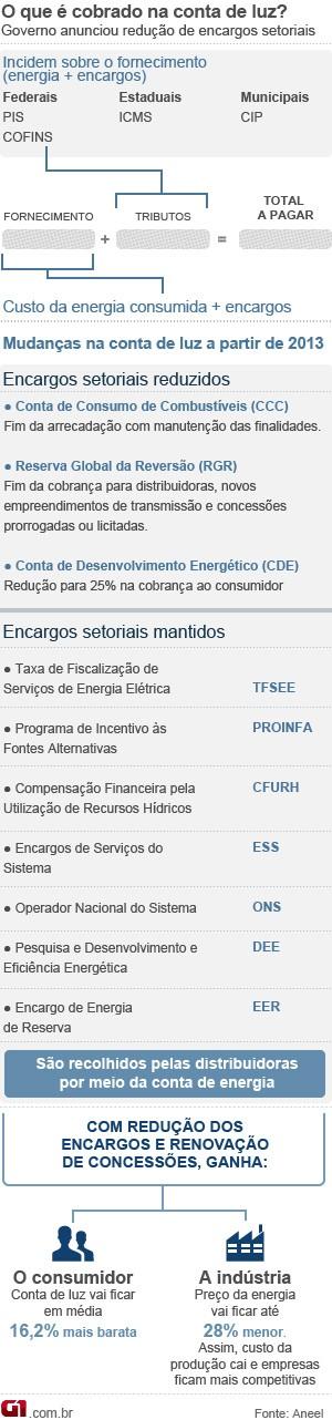 Arte preço da energia e redução dos encargos setoriais (Foto: Editoria de arte/G1)