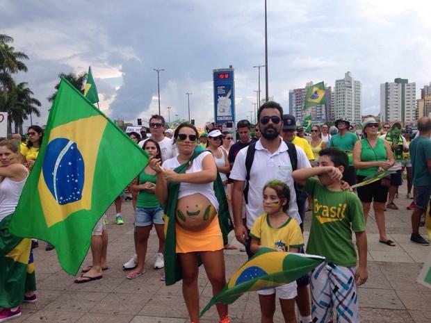 Protesto Florianópolis (Foto: Larissa Vier/RBS TV)