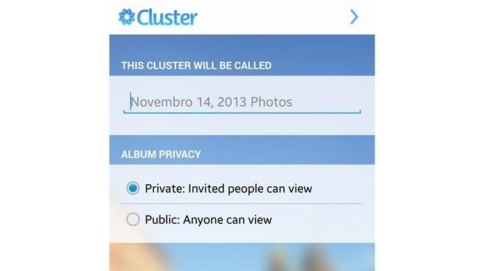 Defina o nome e a privacidade do álbum no Cluster (Foto: Reprodução/Carolina Ribeiro)