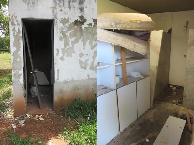 À esquerda, porta arrombada no Espaço Cultural Oscar Niemeyer; à direita, ambiente abandonado (Foto: Isabella Formiga/G1)