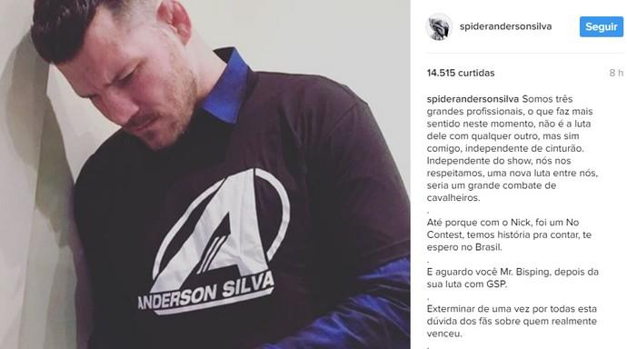 Postagem Anderson Silva Michael Bisping MMA (Foto: Reprodução Internet)