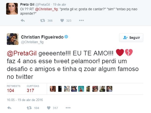Christian e Preta post no Twitter (Foto: Reprodução / Twitter)