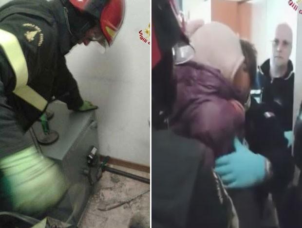 Menina de 2 anos foi resgatada ao ficar trancada em cofre em banco na Itália (Foto: Reprodução/YouTube/Pupia Crime)