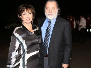 Tony Ramos chega à festa acompanhado de sua esposa, Lidiane  (Foto: Carolina Caminha/Gshow)