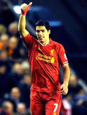 Luis Suarez  comemoração do Liverpool contra o Norwich City (Foto: Ap)