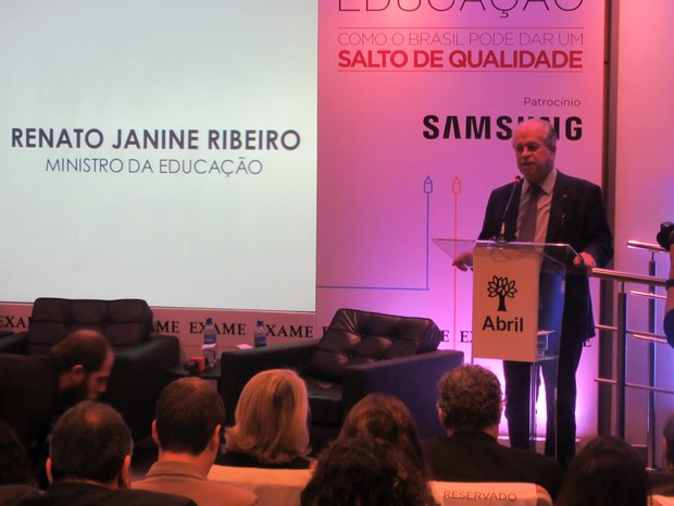 Ministro da Educação, Renato Janine, ministrou palestra em SP nesta terça (Foto: Will Soares/G1)