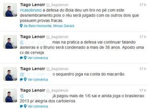Reprodução de perfil no Twitter traz diálogo com aposta na condenação de Bruno (Foto: Reprodução/Twitter)