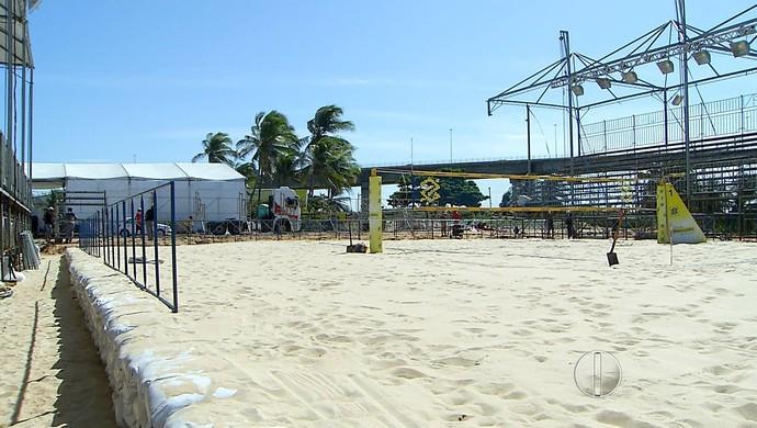 RN - Estrutura montada Circuito Brasileiro de Vôlei, em Natal (Foto: Reprodução/Inter TV Cabugi)