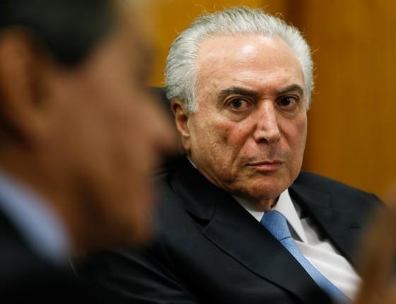 O presidente Michel Temer em reunião com a bancada do PTB (Foto: Foto: Alan Santos/PR)