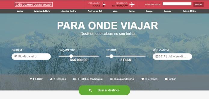 É possível buscar um destino de acordo com o orçamento disponível (Foto: Reprodução/Daniela Ferrari)