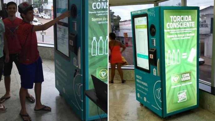 """Máquinas de troca de """"ingressos sutentáveis"""" na Copa Verde (Foto: Divulgação/CBF)"""